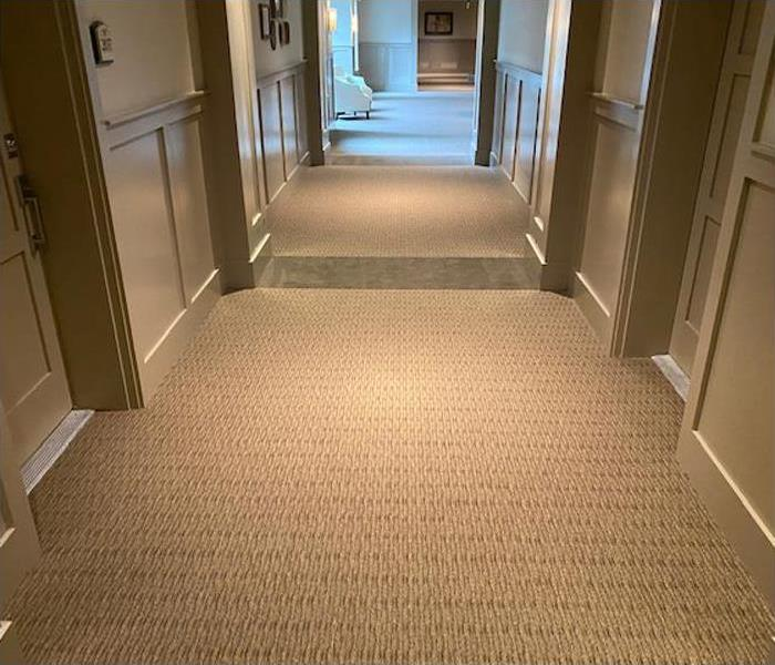 Carpet replaced and hallway restored to perfection.